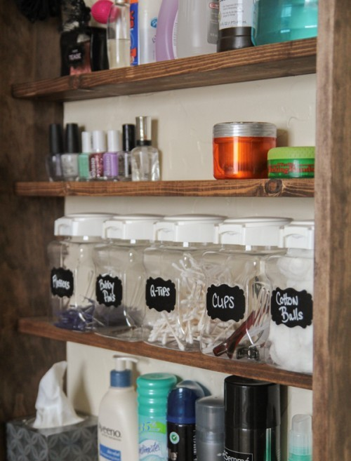 Diy bathroom mirror storage for Diy mirrored kitchen cabinets