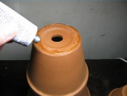 DIY Clay Pot Lighthouse - Add Ceramic Adhesive