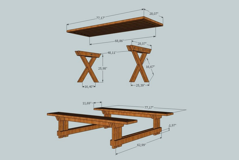 folding picnic table bench diy | Woodworking Camp and Plans