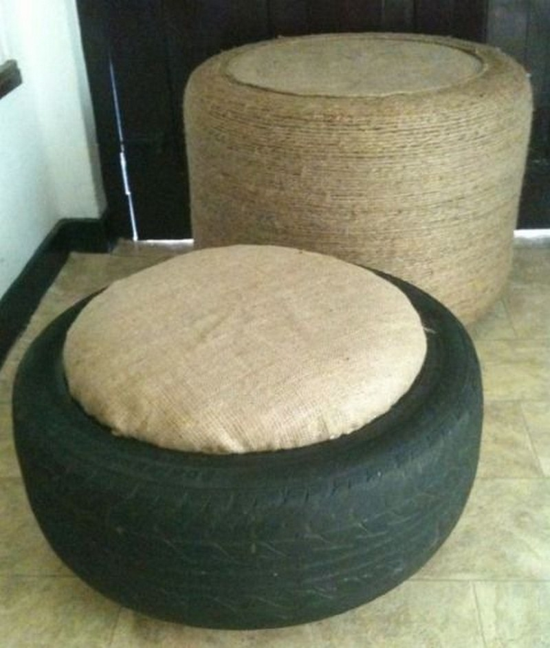 Ottoman made from old tire and rope for Tire table diy
