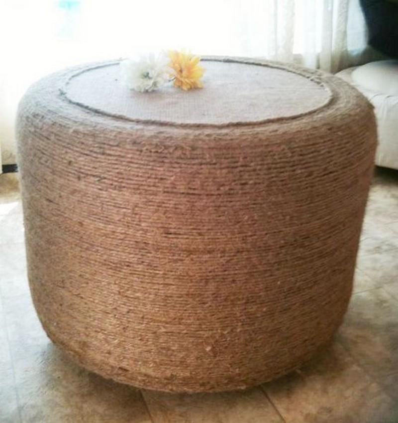 Diy tire ottoman diy crafts tutorials party invitations for Tire table diy