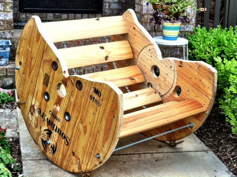 Recycled spool rocking chair the owner builder network for Wooden reel furniture
