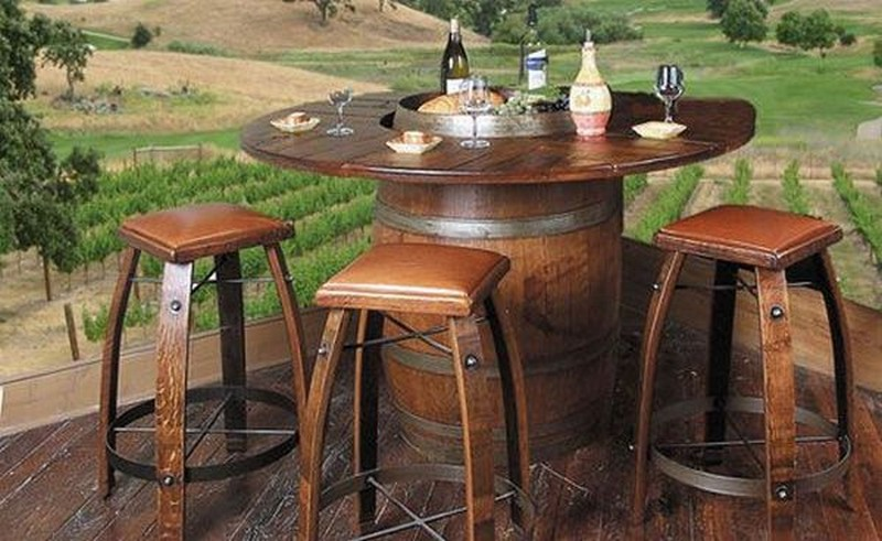 Recycled Wine Barrel Dining Table