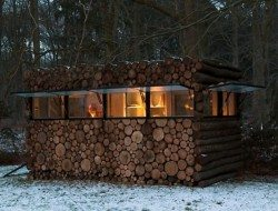 Log Cabin on Wheels - At Night