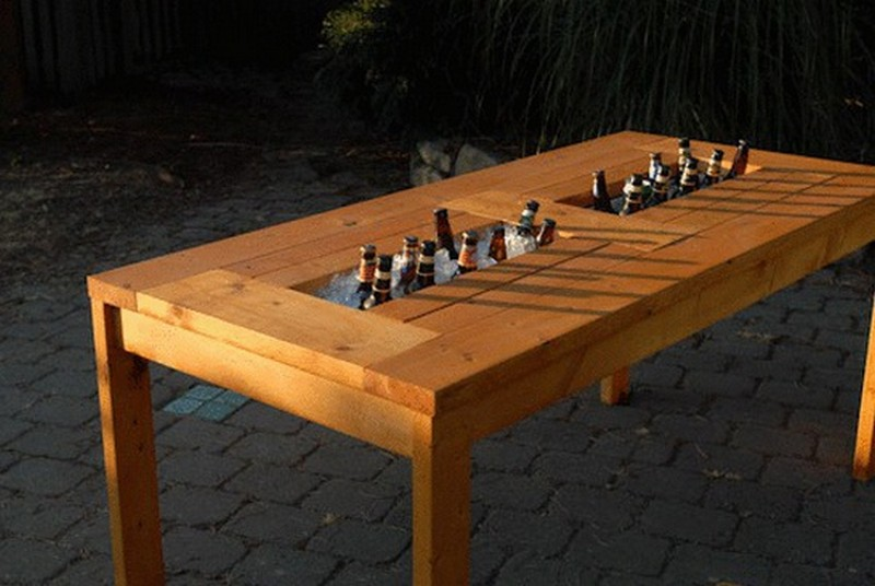 Backyard Table Diy : DIY Patio Table with Builtin BeerWine Coolers  The OwnerBuilder