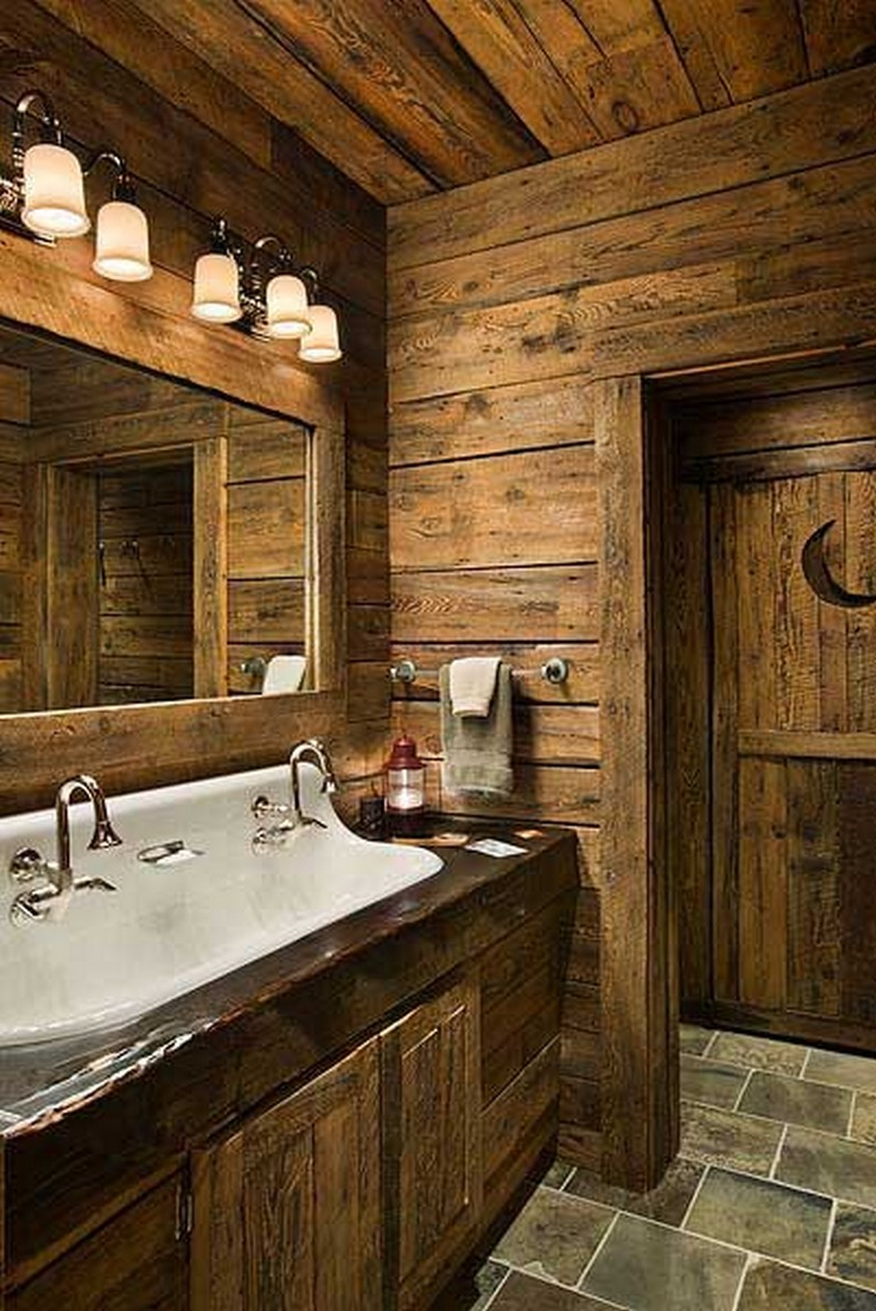 Rustic bathrooms the owner builder network for Log home bathroom ideas