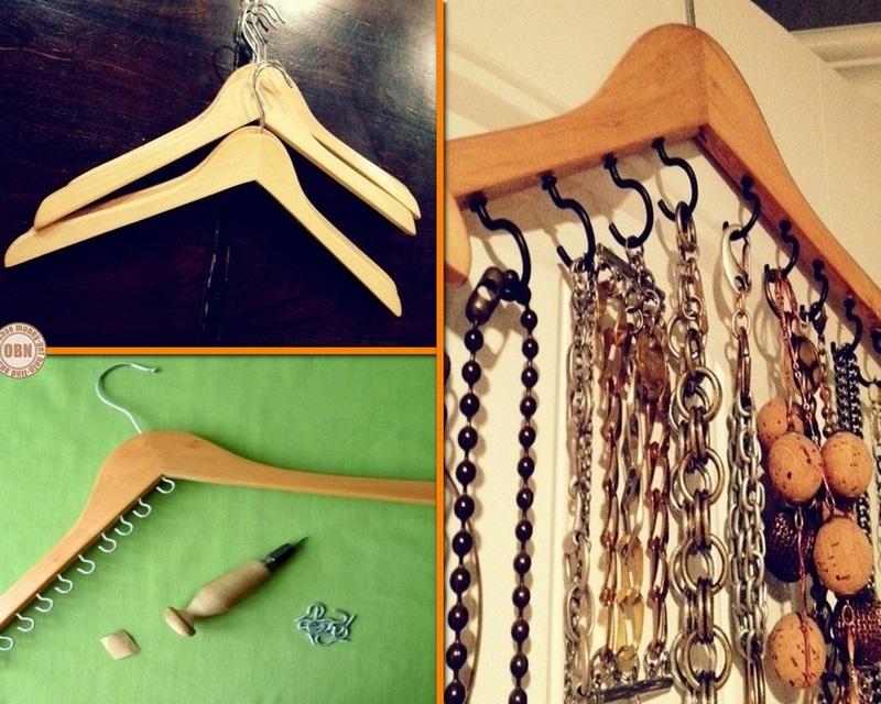 Diy Clothes Hanger Jewelry Organizer