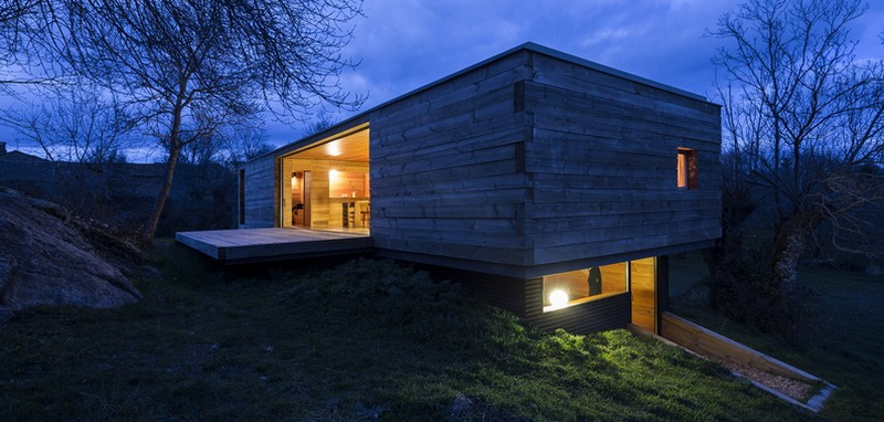 An unconventional log cabin...