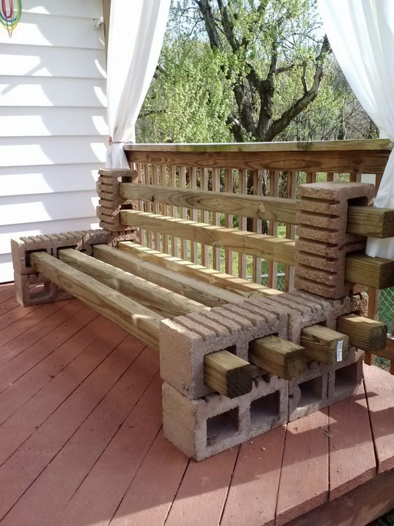 Diy cinder block outdoor bench the owner builder network for Bloque de cemento para jardin