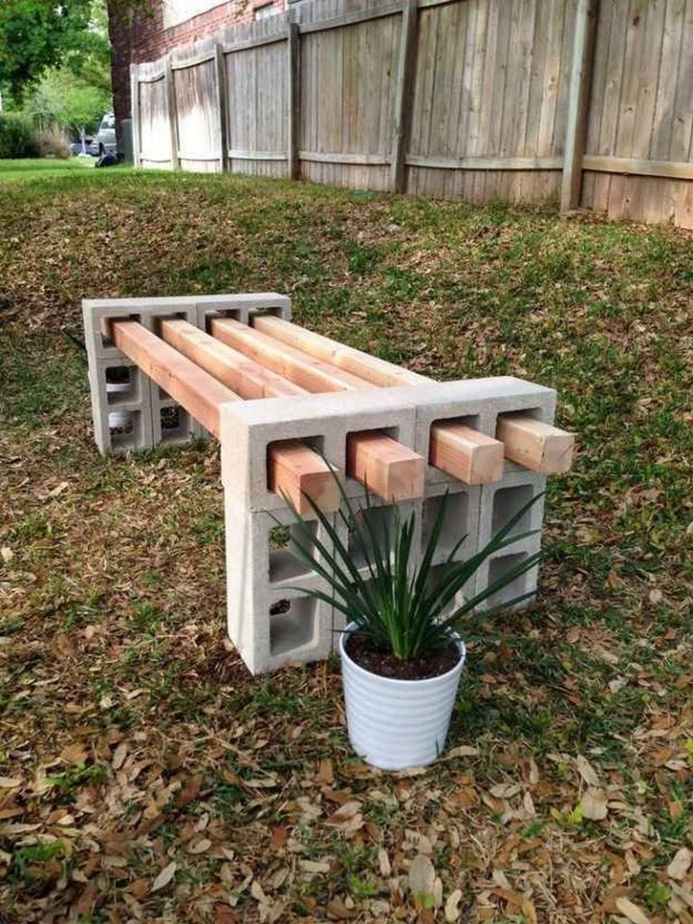Diy cinder block outdoor bench the owner builder network - What is cinder block made of ...