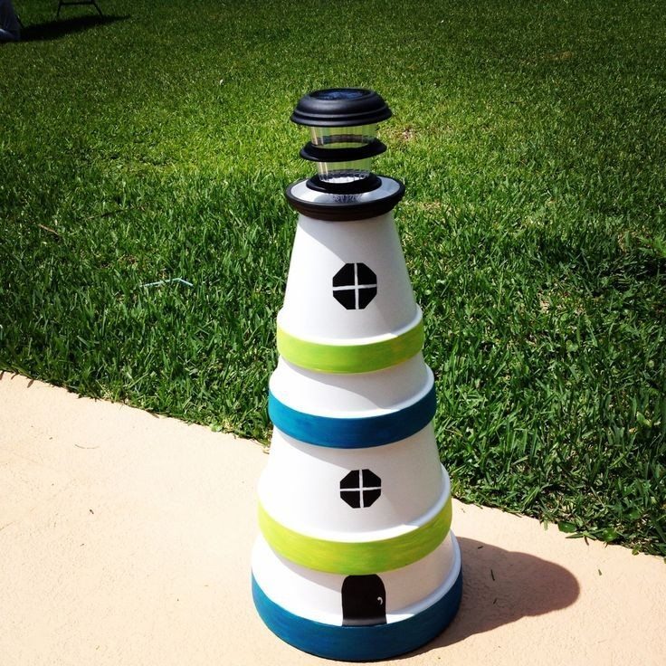 how to make a terra cotta lighthouse with solar light
