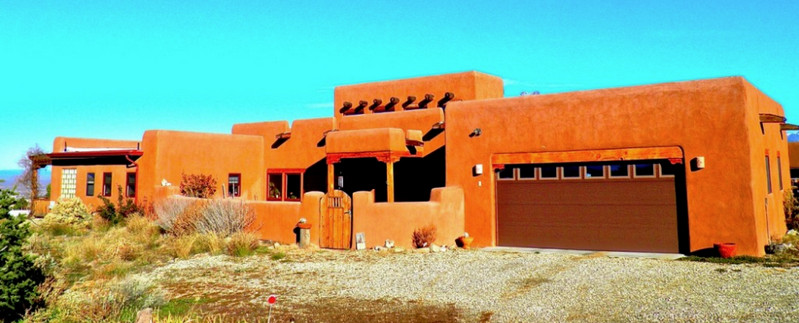 Straw-bale and adobe brick in the New mexico desert...