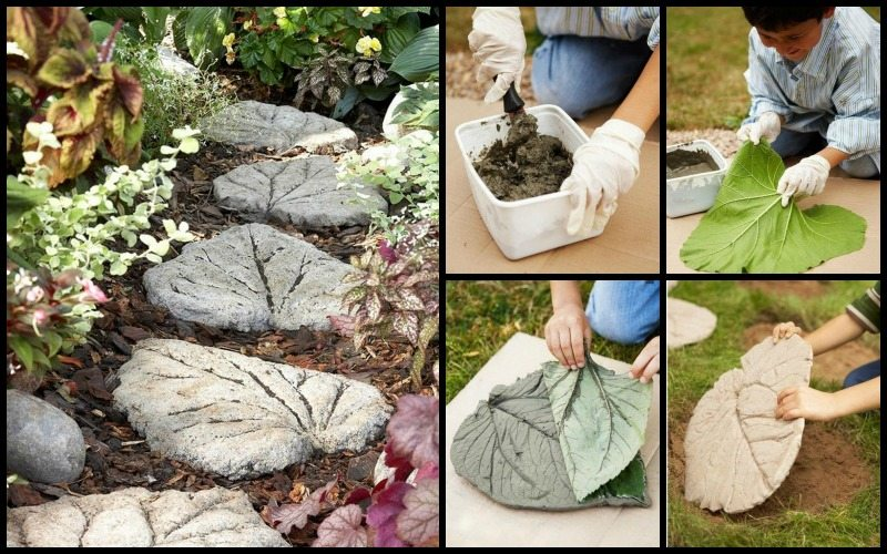 Diy leaf shaped stepping stones for Diy stone projects
