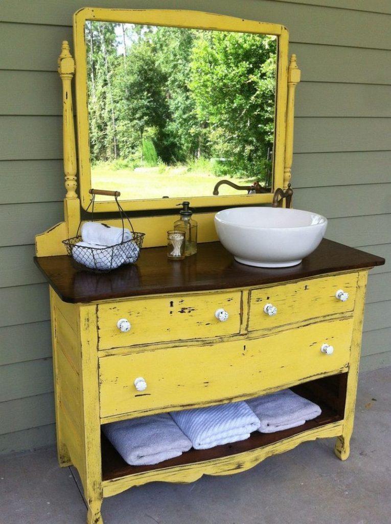 Diy dresser to vanity the owner builder network - Bathroom vanities made from old dressers ...