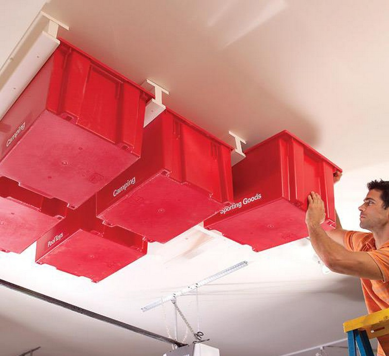 Diy Overhead Garage Shelf: DIY Garage Ceiling Storage