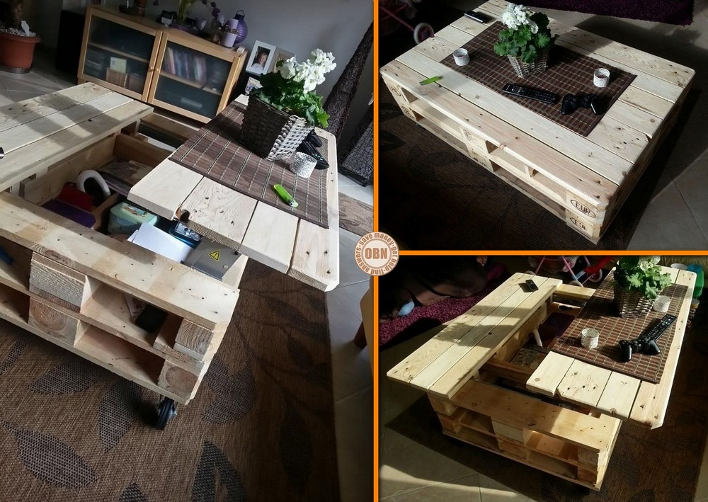 DIY Pallet Coffee Table Lift Top