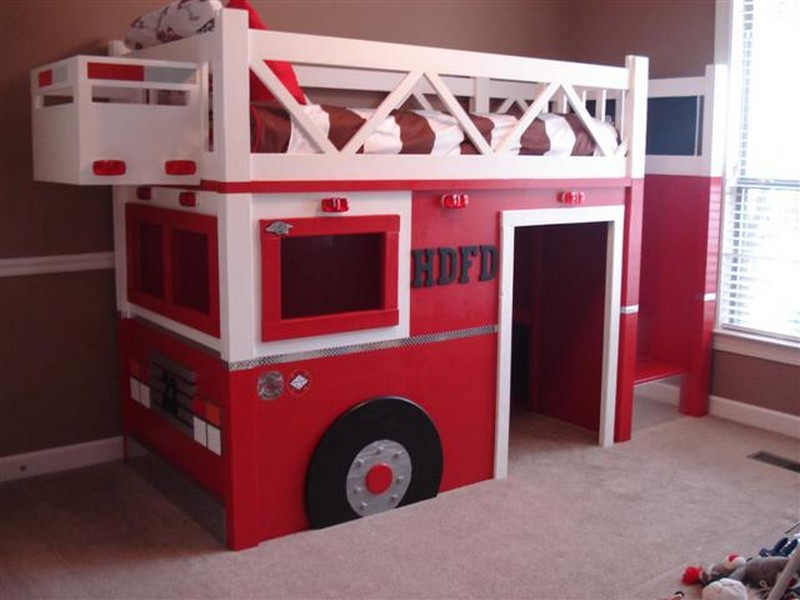 Diy fire truck bunk bed the owner builder network - Fireman bunk bed ...
