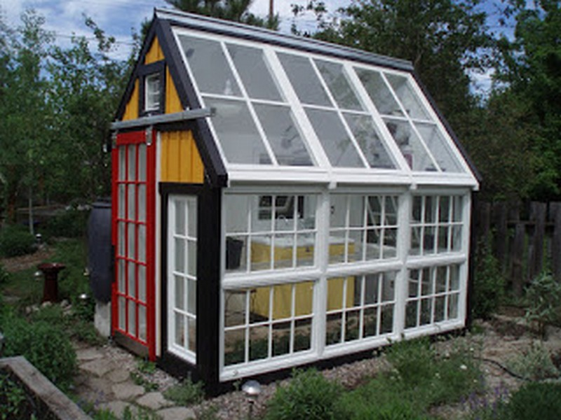 Repurposed window greenhouse images - Green plastic garden sheds ...
