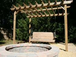 Adult swing set with fire pit for pinterest