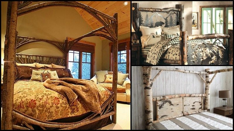 Warm and inviting rustic log beds