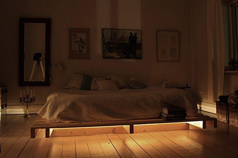 illuminated pallet bed the owner builder network. Black Bedroom Furniture Sets. Home Design Ideas