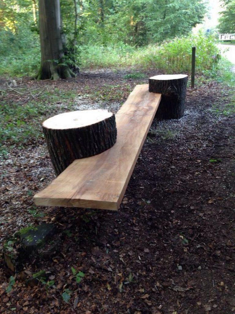 Log Benches Outdoor Rustic Gardens