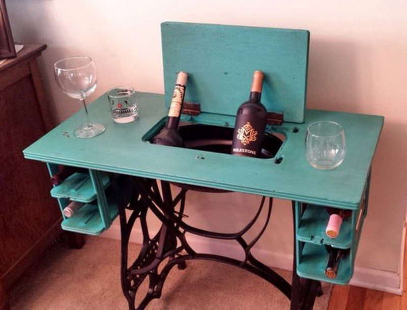 upcycled sewing machine table