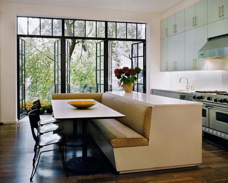 Kitchen island with built in seating inspiration the - Built in kitchen banquette designs ...