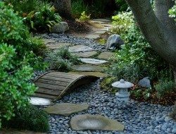 Cool Garden Path With Green Plants And Green Trees