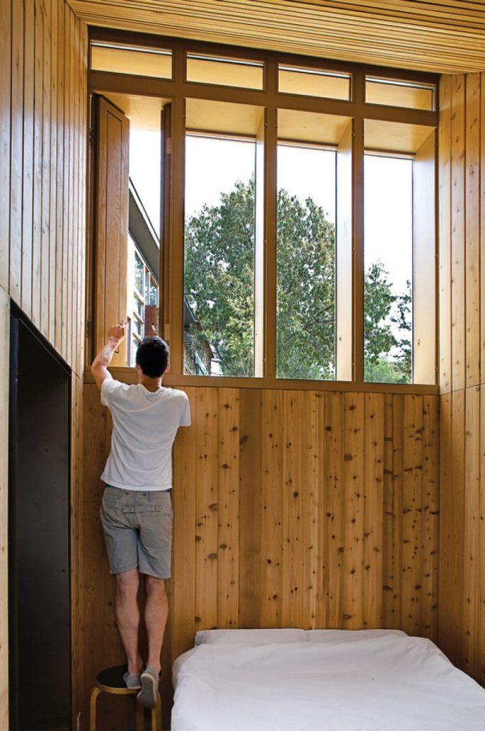 High windows still allow ample light to flood through