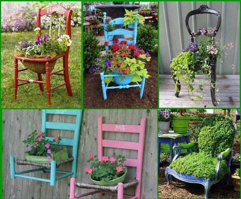 Old chairs with a bright coat of paint really make for interesting planter boxes, don't they?
