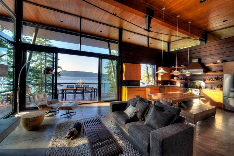 I love this great room. The light. The way it opens onto a huge deck. And of course - that view!