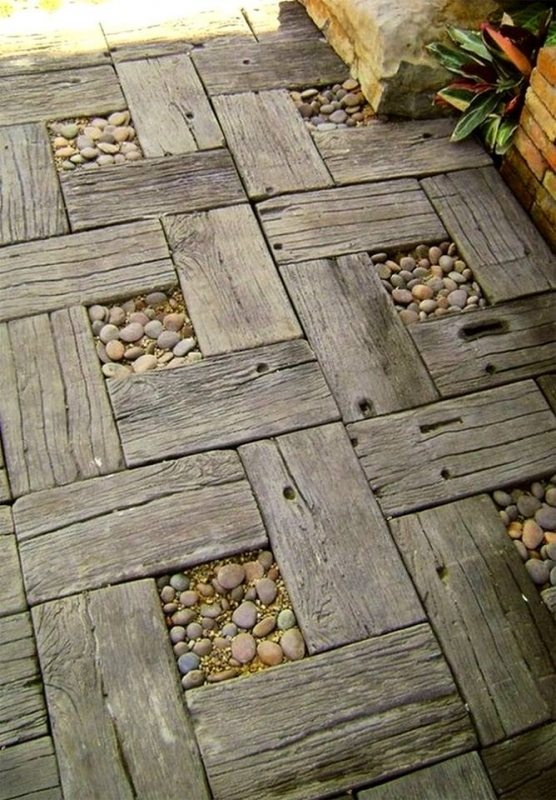 Some recycled timber and pebbles make a pretty nice garden path, don't they?