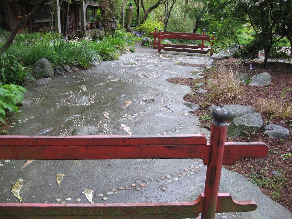 This creek bed is actually concrete, complete with etching and inlays.
