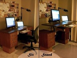 Standing Desk - great for the back. See our blog at http://technology.theownerbuildernetwork.co/2012/11/10/raising-the-bar-and-freeing-the-spine/