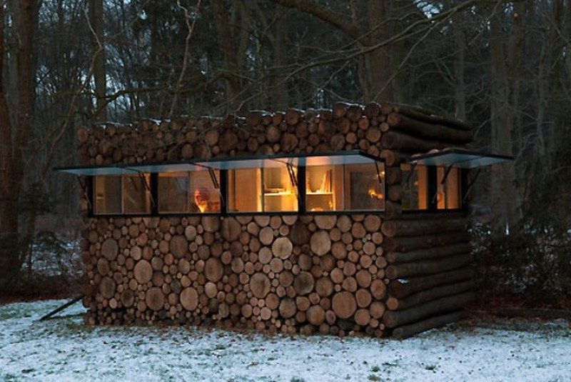 Log Cabin on Wheels - At Night