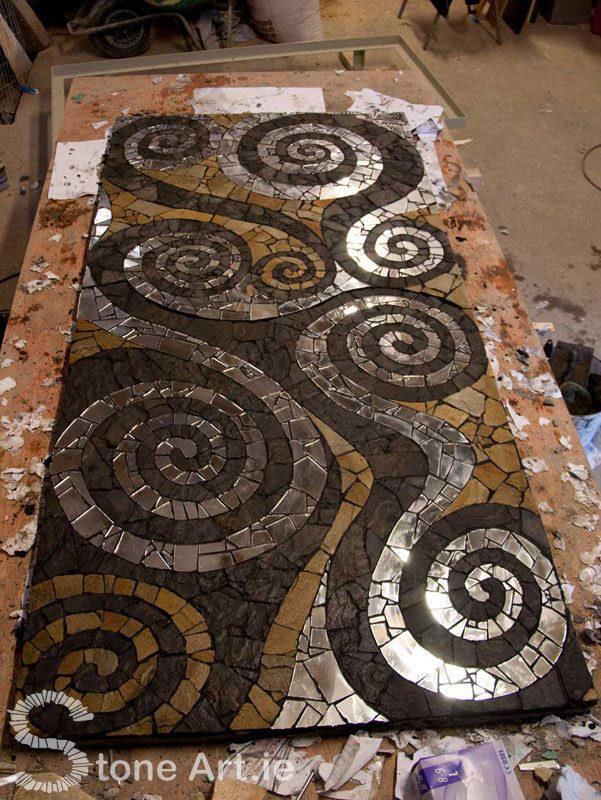 A mosaic table using the same technique.