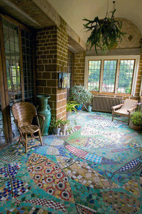 I can appreciate the work involved in this unique mosaic floor, but personally find it a bit busy.