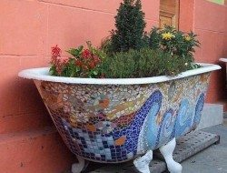 Is this repurposed bath tub mosaic planter a FAIL or WIN?
