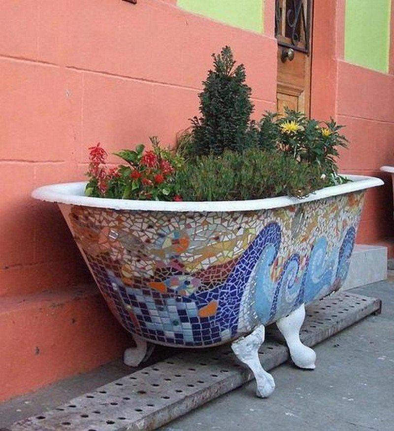 Is this repurposed bath tub mosaic planter a FAIL or WIN?