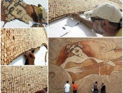 Largest cork mosaic-world record set by Saimir Strati