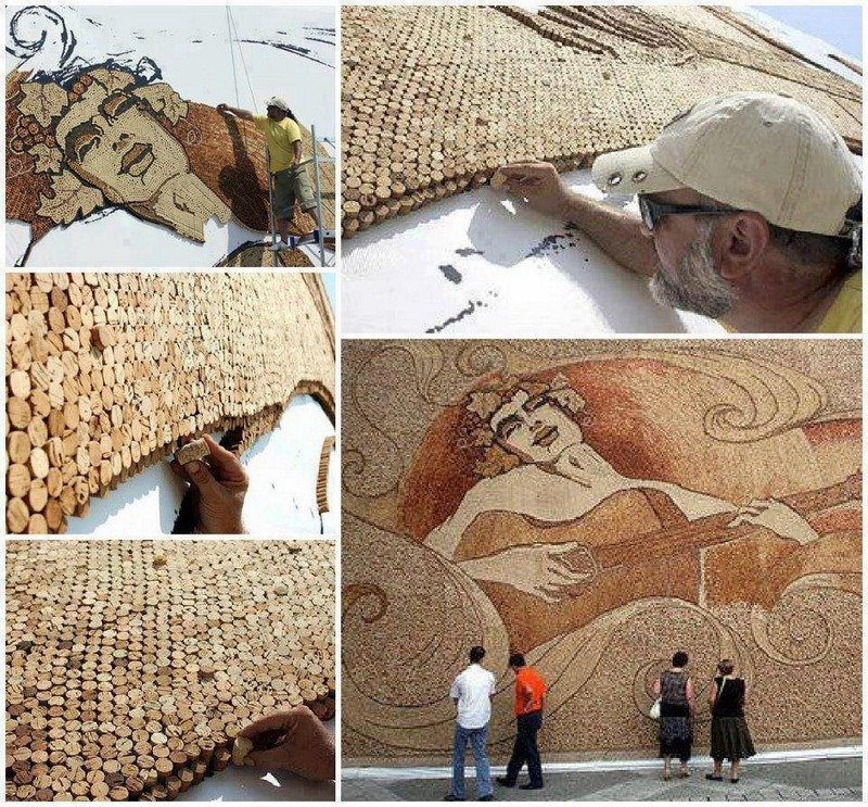 Largest cork mosaic-world record set by Saimir Strati
