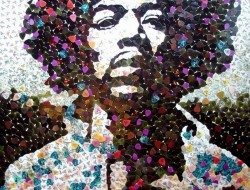 Jimi Hendrix made of guitar picks