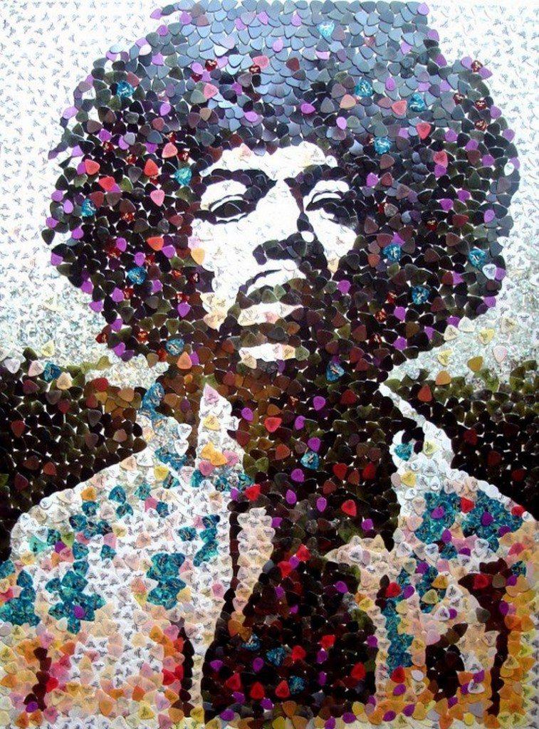 Jimi Hendrix made of guitar picks