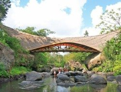 Made entirely of bamboo, the designer drove his Jeep across this pedestrian bridge to demonstrate the strength
