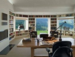 Now that is my idea of a home office. Maybe a window seat in the sun would make it perfect?