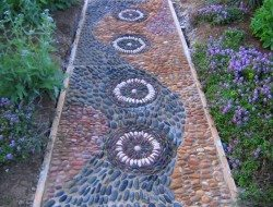 Here's another garden path made from pebbles embedded in cement.