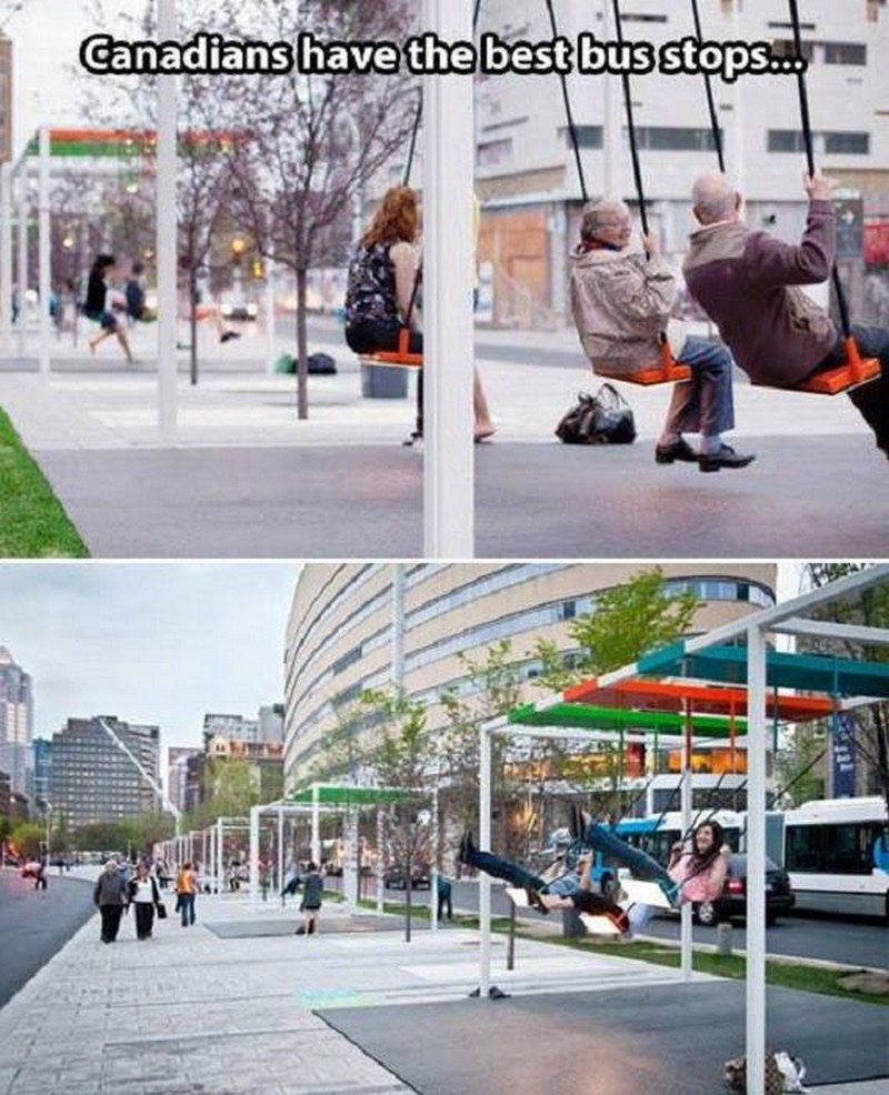 I came across this image via a bizarre route. Is it true? Can you really swing while waiting for the bus in Canada?
