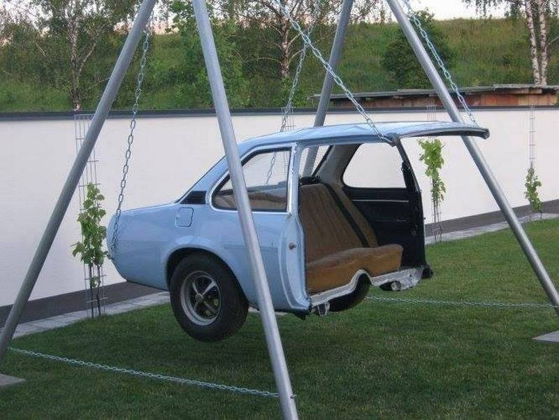 Got an old car? Why not turn it into a swing? We can think of some great comments about this but we won't compete with you geniuses ;)