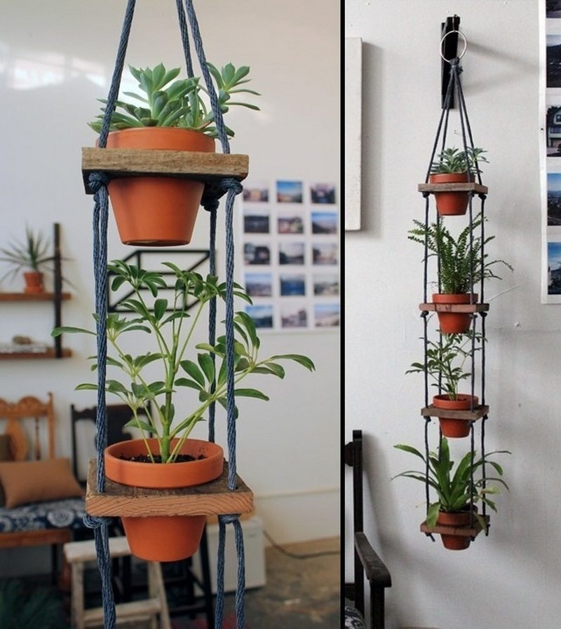 If you're interested in going vertical with your greenery, why not make one of these tiered hanging planters?  All you need is a bit of scrap wood, some rope, a few basic woodworking tools, and terracotta pots. This system makes watering effortless as the runoff water from the previous pots drips into the plants below.